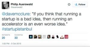 Tweet from StartupInstanbul